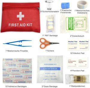 Bolsa portátil de primeros auxilios, 42 piezas